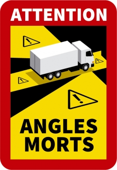 "Aufkleber ""ANGLES MORTS"" (Toter Winkel) Frankreich 250 mm x 170 mm"
